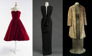 "Jean Dessès, robe ayant appartenu à Dalida, 1958. © Julien Vidal / Galliera / Roger-Viollet ; Balenciaga, robe du soir, 1964. © E. Emo et A. Llaurency / Galliera / Roger-Viollet ; Fortuny, Robe ""Delphos"" et manteau du soir, vers 1930. © L. Degrâces et P. Ladet / Galliera / Roger-Viollet"