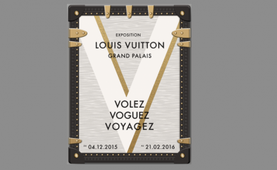 """Affiche de l'exposition """"Volez, Voguez, Voyagez – Louis Vuitton"""" - Photo : © Grand Palais-Rmn / © Louis Vuitton"""