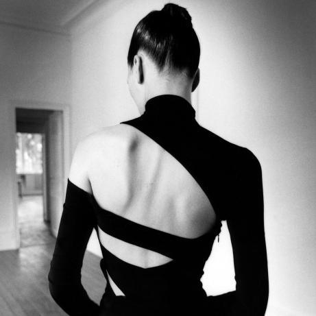"""Ève de dos"" (Ève from behind). Martine Sitbon top and skirt. Published in New York Magazine, 1997. © Estate of Jeanloup Sieff"