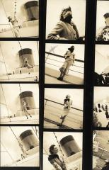 """Schiaparelli ensemble on the Normandie liner"", by Jean Moral © Jean Moral"