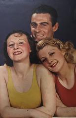 Maillots de bain, par Egidio Scaioni Modèle de profil en combinaison de bain à motifs géométriques et tenant une ombrelle, Lucien Lelong © Egidio Scaioni / Paris Musées, Palais Galliera
