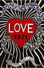 """Carte """"LOVE 1971"""" d'Yves Saint Laurent  © Galliera / Roger-Viollet"""