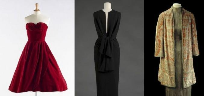 Dalida's red velvet dress by Jean Dessès, 1958. © Julien Vidal / Galliera / Roger-Viollet; Balenciaga, black crepe dress, 1964. © E. Emo et A. Llaurency / Galliera / Roger-Viollet; Mariano Fortuny, Pleated silk Delphos dress and silk velvet coat, around 1930. © L. Degrâces et P. Ladet / Galliera / Roger-Viollet