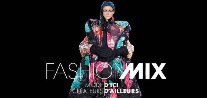 """Poster of """"Fashion Mix"""" (detail). - Model : Yohji Yamamoto A/W 2014, Collection Palais Galliera. - Credit : © Yohji Yamamoto © Monica Feudi"""