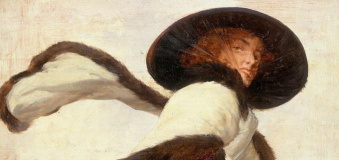 """Anonyme. """"Femme au chapeau noir et à l'écharpe"""""""
