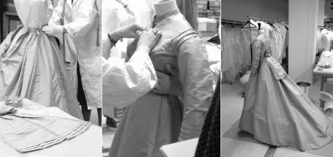 Séance de mannequinage dans les ateliers de restauration et conservation préventive du Palais Galliera  - Photo : © Astrid Amegnran / Galliera