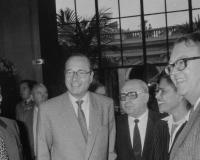 "Mr Jacques Chirac at the opening of the exhibition ""Gianni Versace"" presented at the Palais Galliera as part of the ""Mois de la Photo"", October 1986. - Marc Verhille / BHdV / Roger-Viollet"