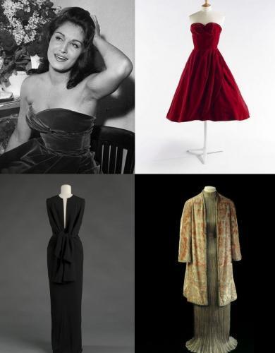 """Dalida, Paris, Bobino, Octobre 1958. © Boris Lipnitzki / Roger-Viollet ; Jean Dessès, robe ayant appartenu à Dalida, 1958. © Julien Vidal / Galliera / Roger-Viollet ; Balenciaga, robe du soir, 1964. © E. Emo et A. Llaurency / Galliera / Roger-Viollet ; Fortuny, Robe """"Delphos"""" et manteau du soir, vers 1930. © L. Degrâces et P. Ladet / Galliera / Roger-Viollet"""