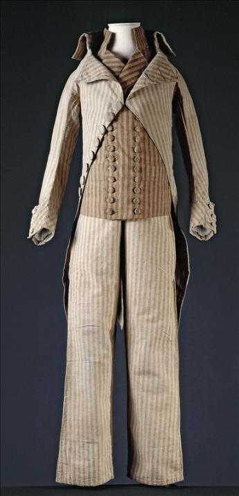 View of a coat, waistcoat and trousers worn by Louis XVII