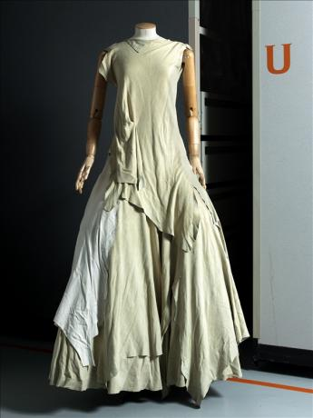 View of the ensemble with long skirt, Yohji Yamamoto