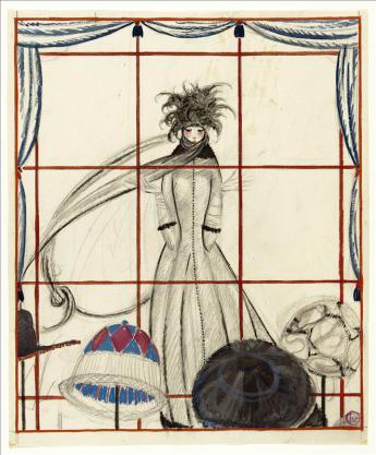 vue de derrière la vitrine de la modiste, Georges Lepape