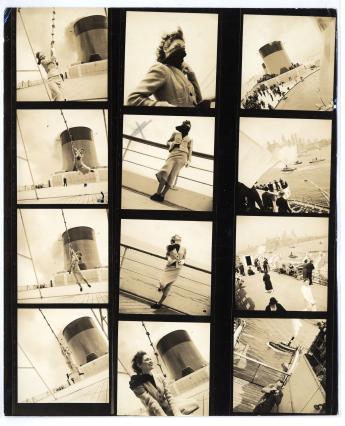 """""""Schiaparelli ensemble on the Normandie liner"""", by Jean Moral © Jean Mora l/ Paris Musées, Palais Galliera"""