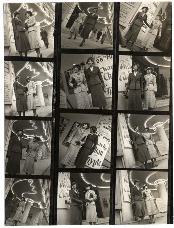 """""""Ensembles tailleurs, Cinéma le Balzac"""", par Jean Moral © Jean Moral/ Paris Musées, Palais Galliera"""