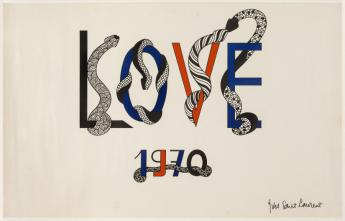 "Carte ""LOVE 1970"" d'Yves Saint Laurent  © Galliera / Roger-Viollet"